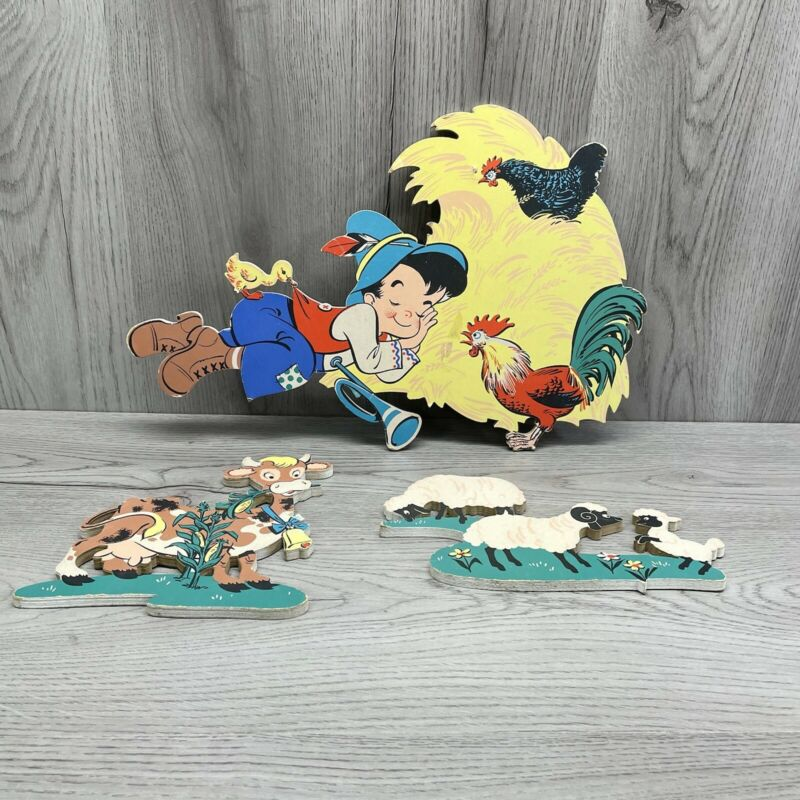 Vintage Dolly Toy Co. Mother Goose Wall Decor Pin-ups 1950s Farm