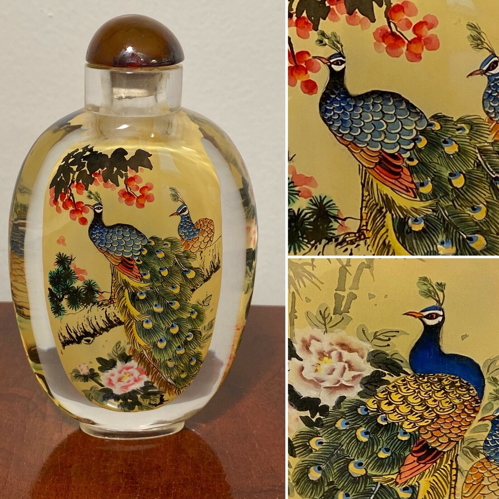 Vintage Unused Chinese Large 4.5 Peacock Reverse-Painted GLASS SNUFF BOTTLE - $79.99