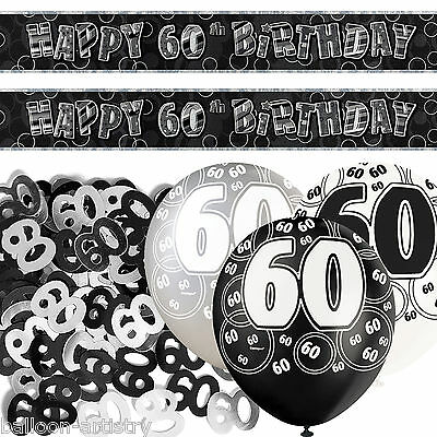 Black Silver Glitz 60th Birthday Banner Party Decoration Pack Kit Set