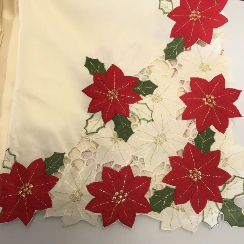 Beautiful Appliqued Christmas Poinsettia Floral Rectangle Tablecloth 100 x 58""