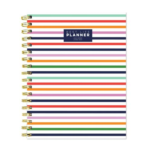 July 2020 - June 2021 Preppy Stripe BestLife Weekly Luxe Harcover Spiral Planner
