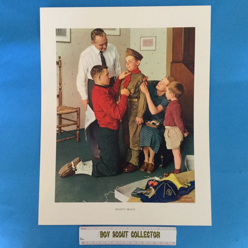 """Boy Scout / Cub Scout Norman Rockwell Print 11""""x14"""" Mignty Proud"""