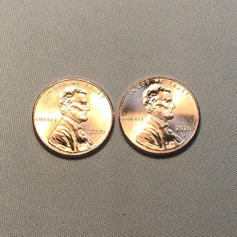 2020 P & D Lincoln Shield Cent Set  BU Coins From Bank Rolls. Free Fast Shipping