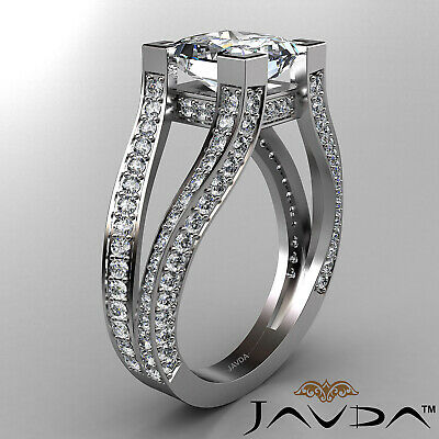 Circa Halo Split Shank Princess Diamond Engagement Pave Set Ring GIA H VS2 2.4Ct 2