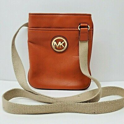Michael Kors Burnt Orange Pebbled Leather Cross Body Purse