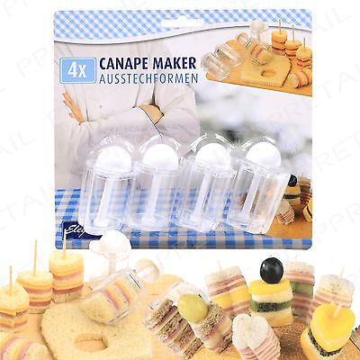 4Pc Mini Dessert/Appetizer Maker+CANAPÉ+Sandwich/Cake Cutter Retro/Vintage Party