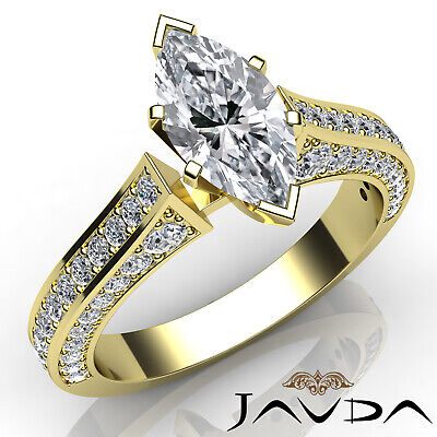 Micro Pave Set Marquise Diamond Engagement Ring GIA Certified I Color SI1 2 Ct 6
