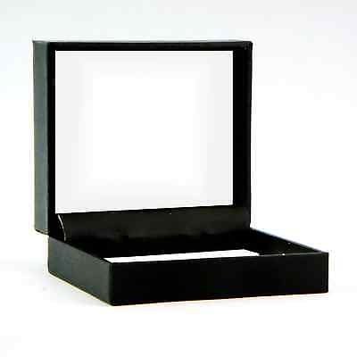 Jewelry Gift Box Hinged Lid Embossed Black Cardboard White Inside 3x 2156-03