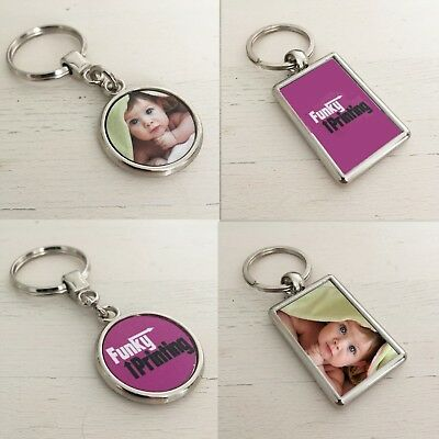 Logo Double Photo Frame (Custom Photo Keyring, Silver Double Sided Personalised Gift, Any Image Logo)