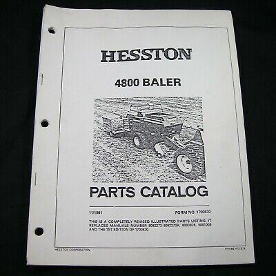 Heston 4800 Large Square Hay Baler Parts Manual Book Catalog Bailer Oem Original