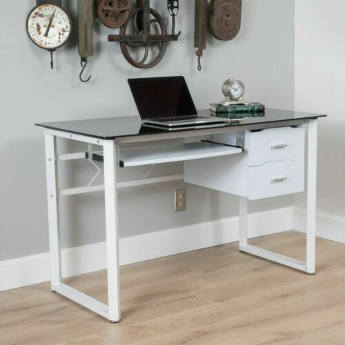 Rivendell Modern Black and White Iron Office Desk with Tempered Glass Top Furniture