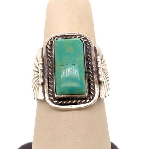 VTG Estate Navajo RB Running Bear Sterling Silver & Turquoise Size 8 Ring! 165