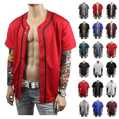 Men Baseball Jersey T-Shirt Button Sports Fashion Casual  Mesh Baseball Jacket -