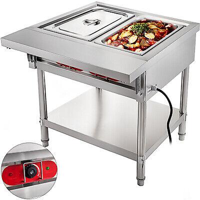 Steam Table Food Warmer Buffet 2 Pans Steamer Bain Marie Restaurant 110v 1500w