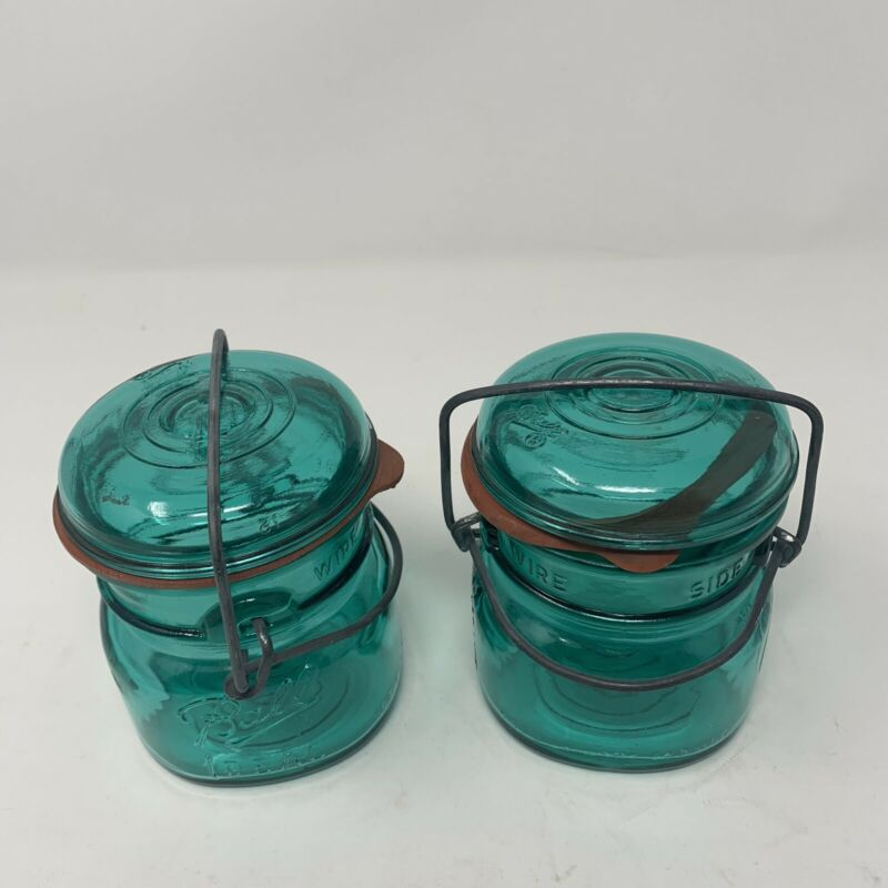 "2 Vintage BALL IDEAL  Aqua Jar Glass Wire Side Lid canning collectilbe 4"" x 3"""