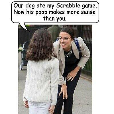 Anti Liberal Pro Trump Conservative AOC SCRABBLE DOG POOP Funny Political Shirt Dog Poop T-shirt