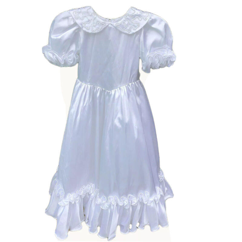 Vintage Dress Girls Size 5-6 Handmade Lace Flower Girl Communion Baptism