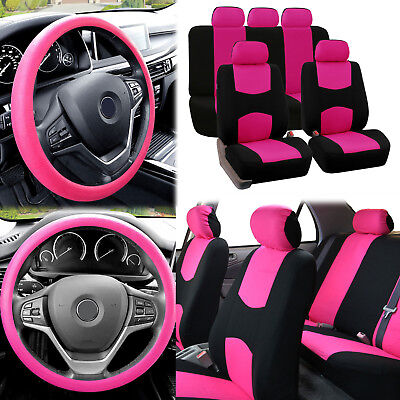 Flat Cloth Car Seat Covers Pink Black 2 Row Set w/ Silicone Steering Wheel Cover
