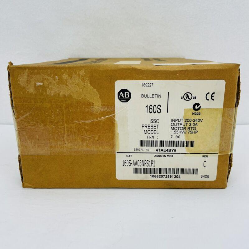 Allen Bradley 160S-AA03NPS1P1 Ser. C Speed Controller F/W: 7.06 .75HP ~NEW~