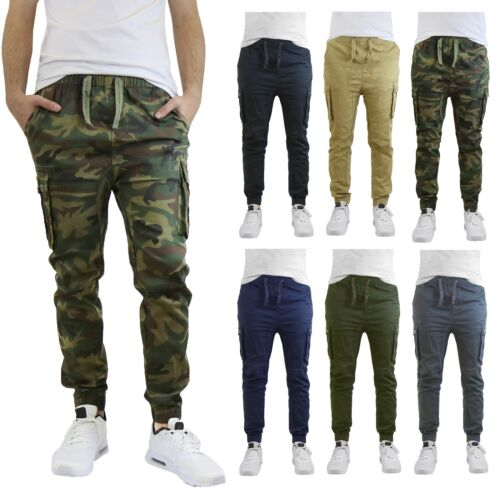 Mens Twill Joggers Cargo Pocket Cotton Slim Fit Stretch Work Casual Lounge New