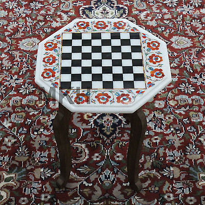 Tournament Chess Table Semiprecious Stones Marble Inlay Work Hand Carved -