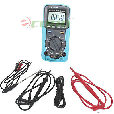 Handheld Digital Car Automotive Multimeter Volt Amp Ohm Temp Capacitance Tester