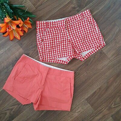 J. Crew Shorts For Women Red and White Apple Print and Sherbert Shorts Size 2