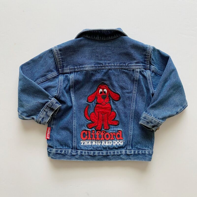 Clifford The Big Red Dog Denim Jacket Kids Sz 8