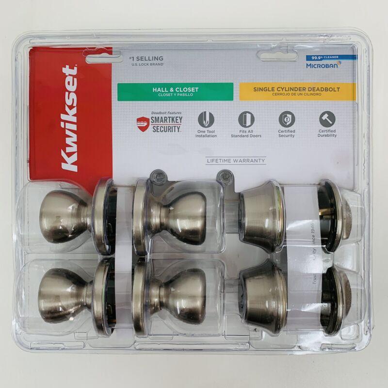 Kwikset Pack: 2 Smart key Deadbolts Lock & 2 Hall/Closet Knob Sets Satin Nickel