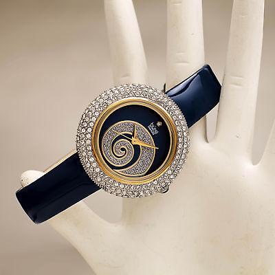 Women's Burgi BUR209BU Swarovski Crystal Diamond Sparkle Blue Leather Watch