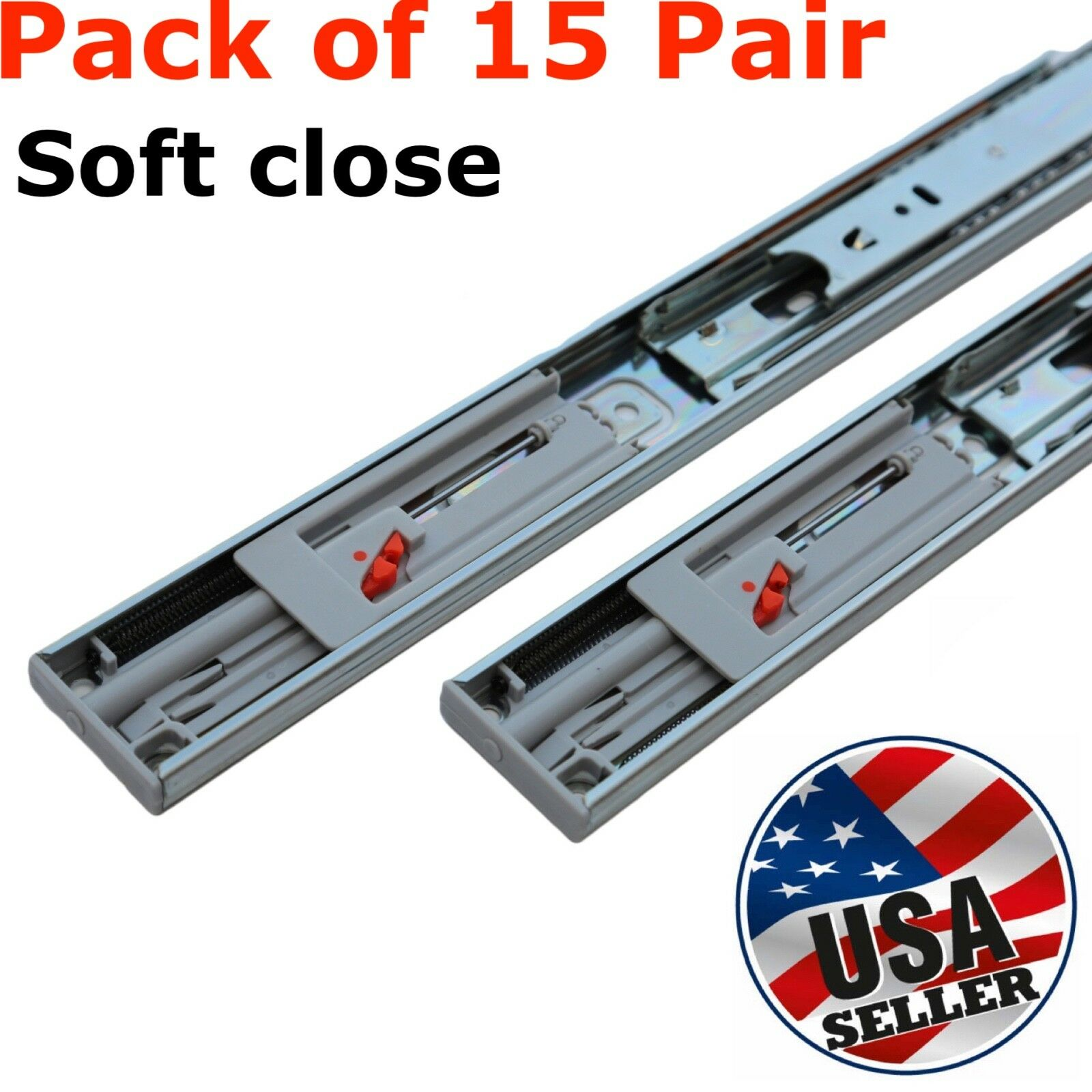 "15 Pair 14""-22"" Soft Close Drawer Slides Ball Bearing Full Extension Value Pack"
