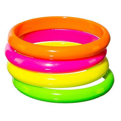 4er Set Armband Armreifen neon Schmuck 80er Jahre Kostümzubehör Armbänder - Kostüm Armbänder Schmuck
