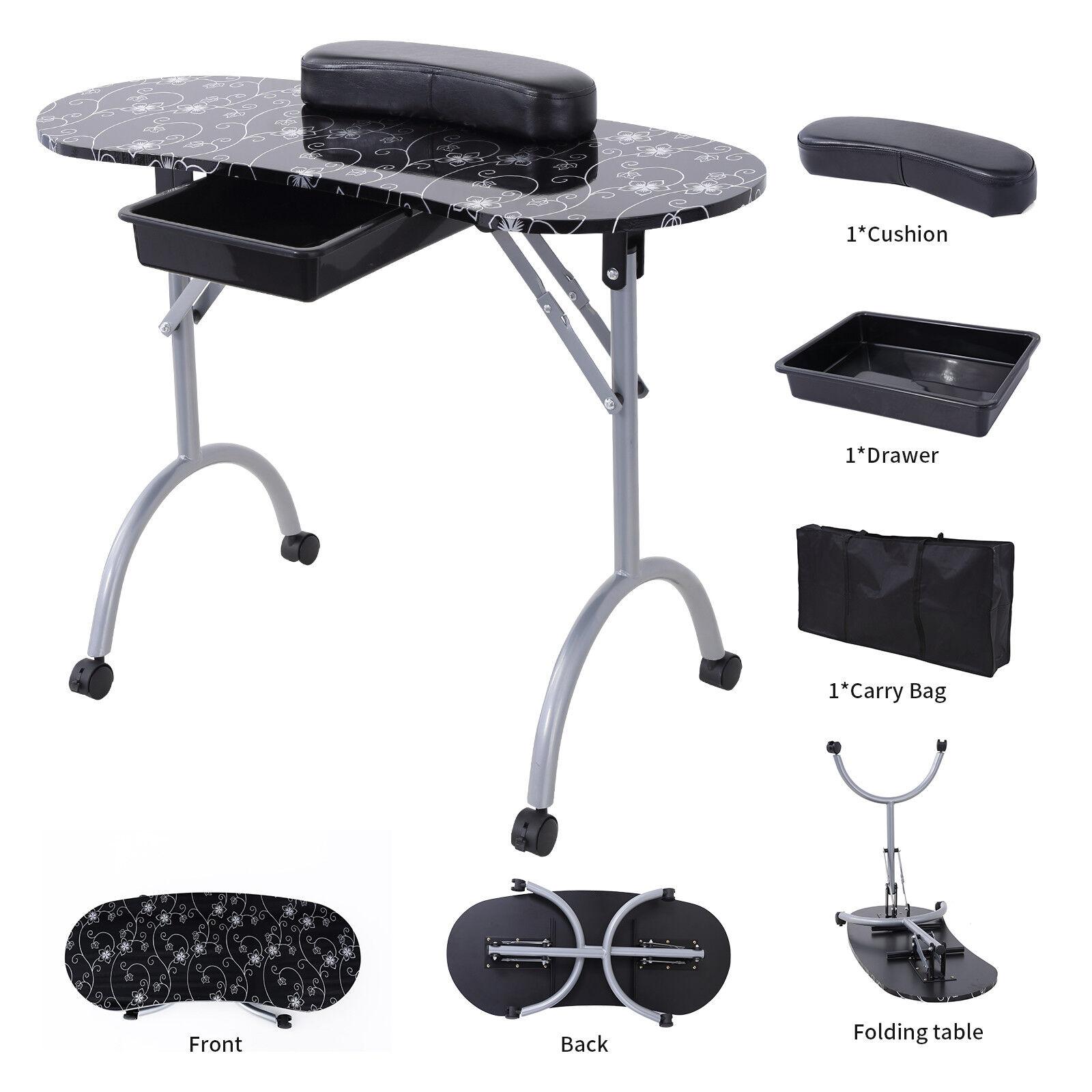 Foldable Manicure Nail Table Portable Station Desk Spa Beauty Salon ...