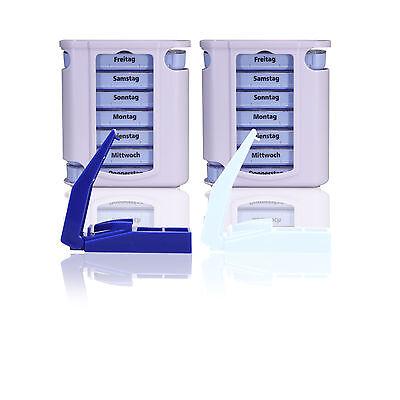 2x Pillendose/ Pillenbox/ Tablettendose/ inkl. Tablettenteiler