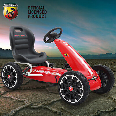 Kids Licensed Abarth Pedal Go Kart Children's Ride on Push Car with Hand Brake