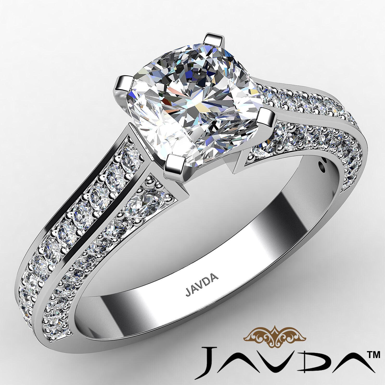 Cushion Diamond Engagement Pave Set Ring GIA J Color & VS2 clarity 1.82ctw
