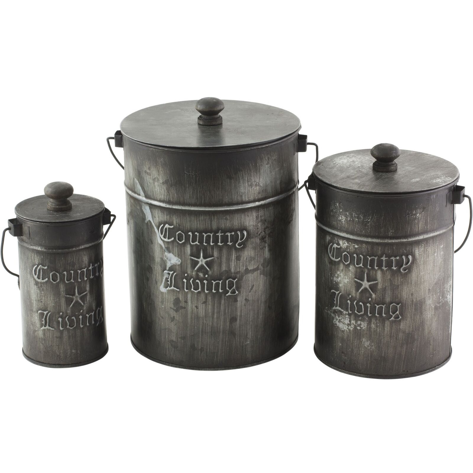 "3 Tin ""Country Living"" Galvanized Metal Rustic Canisters Buc"