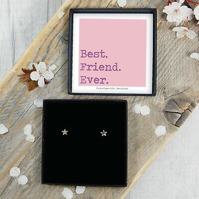 Silver Star Earrings Studs Birthday Gift Present For Best Friend Jewellery (Best Presents For Ladies)