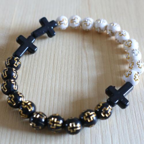 Rosary Bracelet Cross Beads Handmade Mens Catholic Pray Virgin Mary Decade