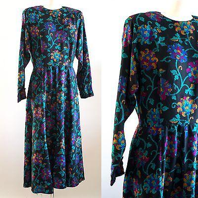 1980s 1990s Vintage Liz Claiborne Black Scroll Floral Long Sleeve Dress Sz 12