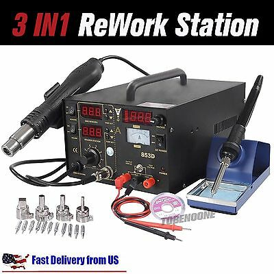 853d 3in1 Smd Soldering Iron Hot Air Gun Rework Station Desoldering Repair U8