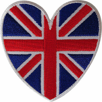 UK Flag Heart Patch Embroidered Iron Sew On Union Jack British Badge Applique