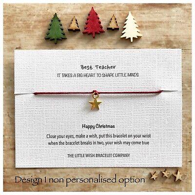 TEACHER Thank You CHRISTMAS Wish Bracelet Nursery, Assistant, Key Worker Gift - Halloween Thank You Gifts