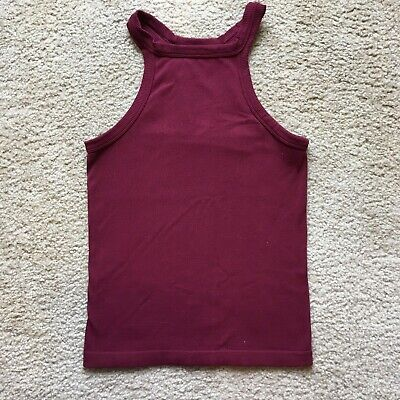 Skylee Juniors Maroon Racerback Ribbed Tank Top Size S High Neck Crop Fitted Juniors Ribbed Tank Top