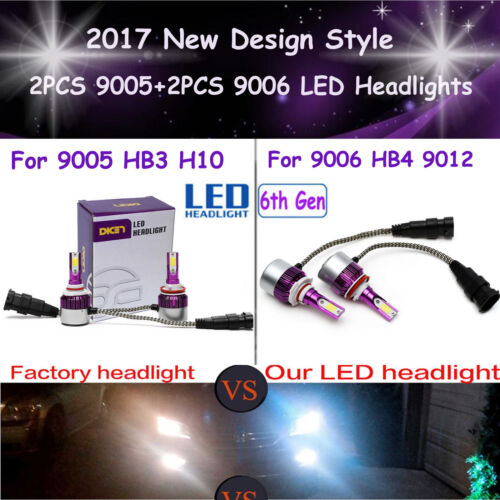 Package Kit - New 9006 9005 LED Total 840W Combo DRL Fog Headlight High Low Beam