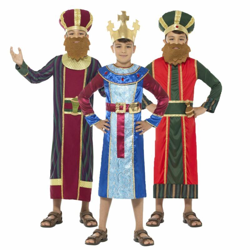 Kids Boys 3 Wise Men Kings Christmas Nativity School Play Fancy Dress Costume