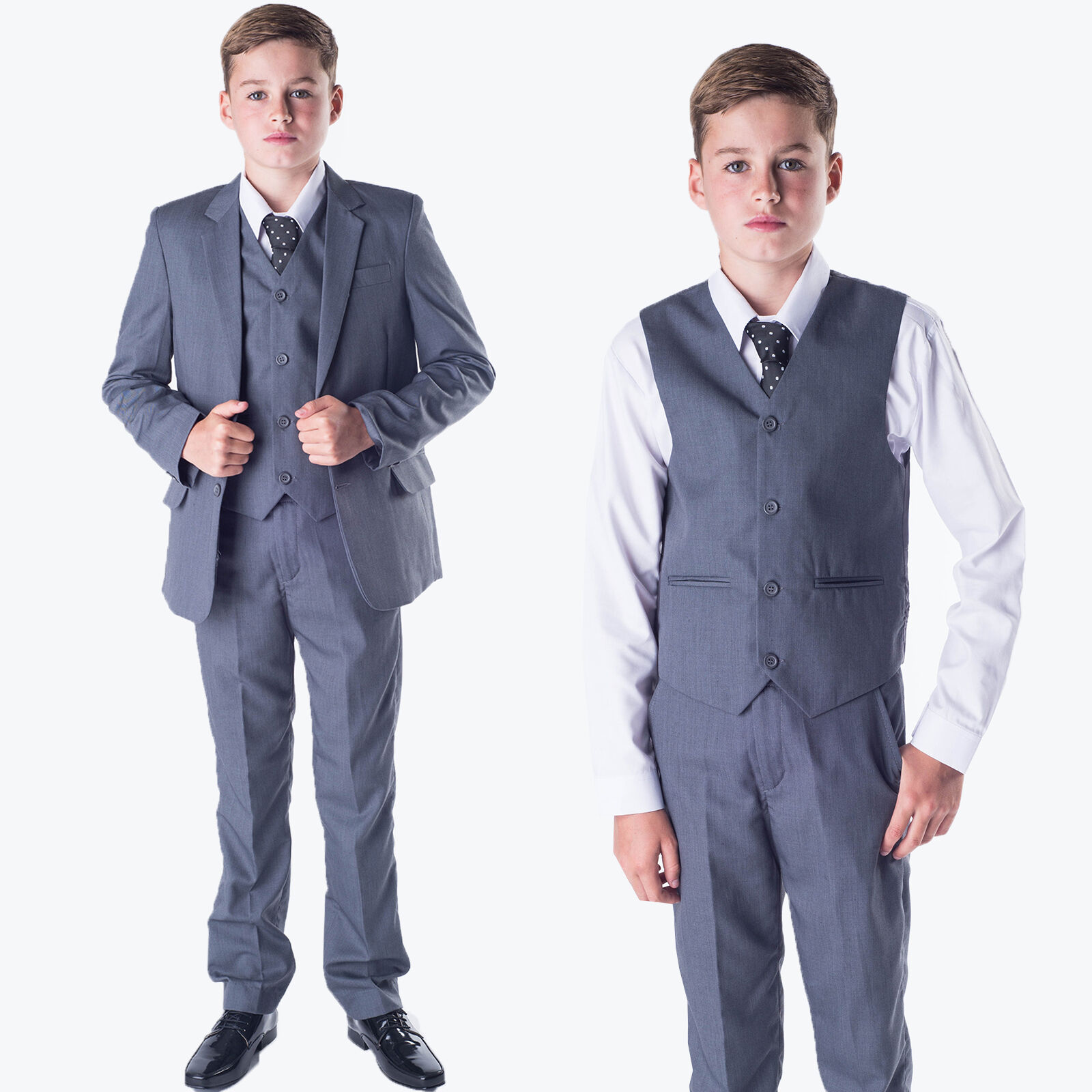 0-3 - 14 yrs Boys Black Suit 5 Piece Wedding Page Boy Baby Formal Party Smart