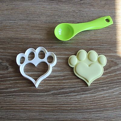 Heart Shaped Dog Paw Cookie Cutter Treat Love Puppy Pup Print Pupcake topper  Shaped Cookie Cutter