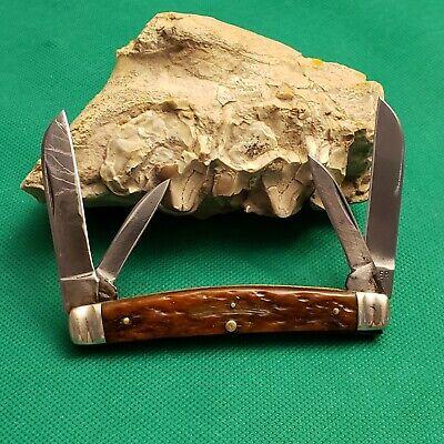 Old Vintage Boker USA Tree Brand 6006 Bone Stag Congress Pocket Knife Knives