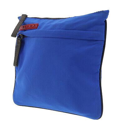 PRADA Logos Shoulder Bag Blue Gray Polyester Italy Vintage Authentic #MM161 I